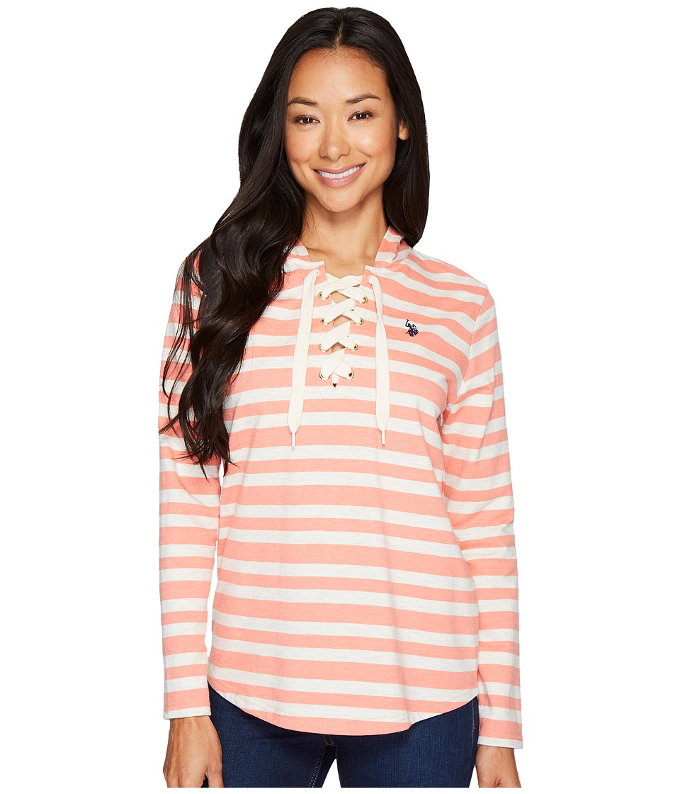 U.S. POLO ASSN. French Terry Striped Pullover Hoodie (Sego Lily) Women