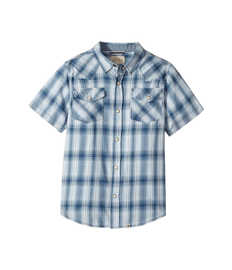 Lucky Brand Kids - Short Sleeve Western Plaid Shirt (Big Kids) (Dark Denim) Boy's Clothing