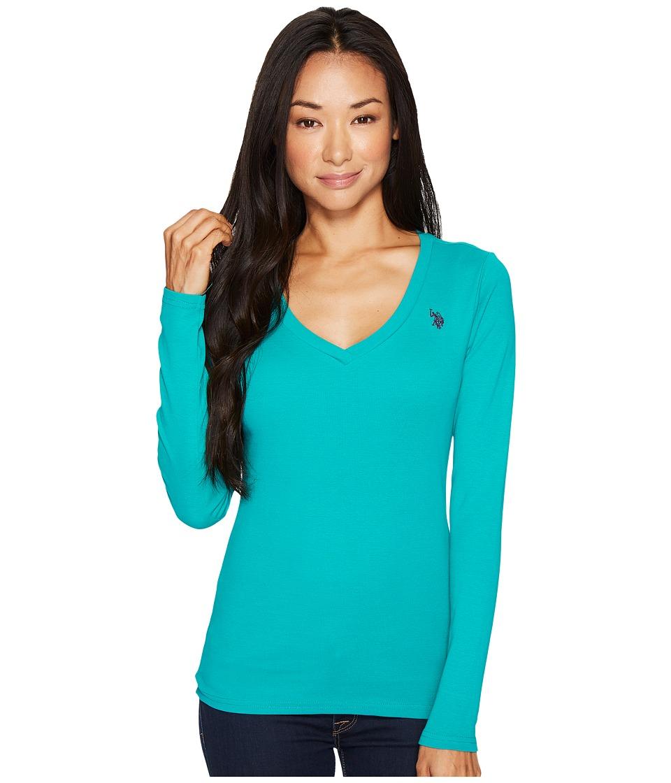 U.S. POLO ASSN. - Rib V-Neck T-Shirt (Green/Purple) Women's T Shirt