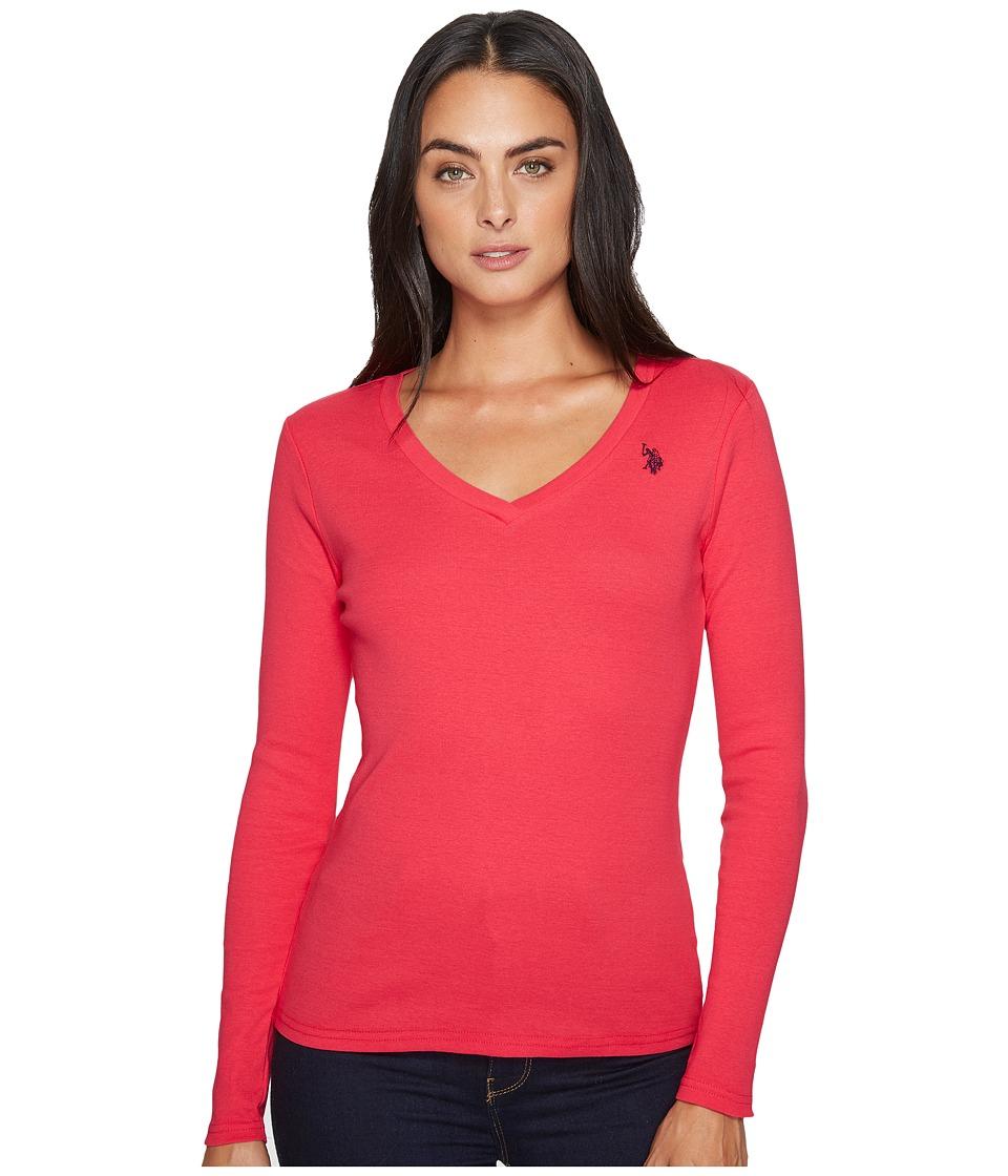 U.S. POLO ASSN. - Rib V-Neck T-Shirt (Azalea) Women's T Shirt