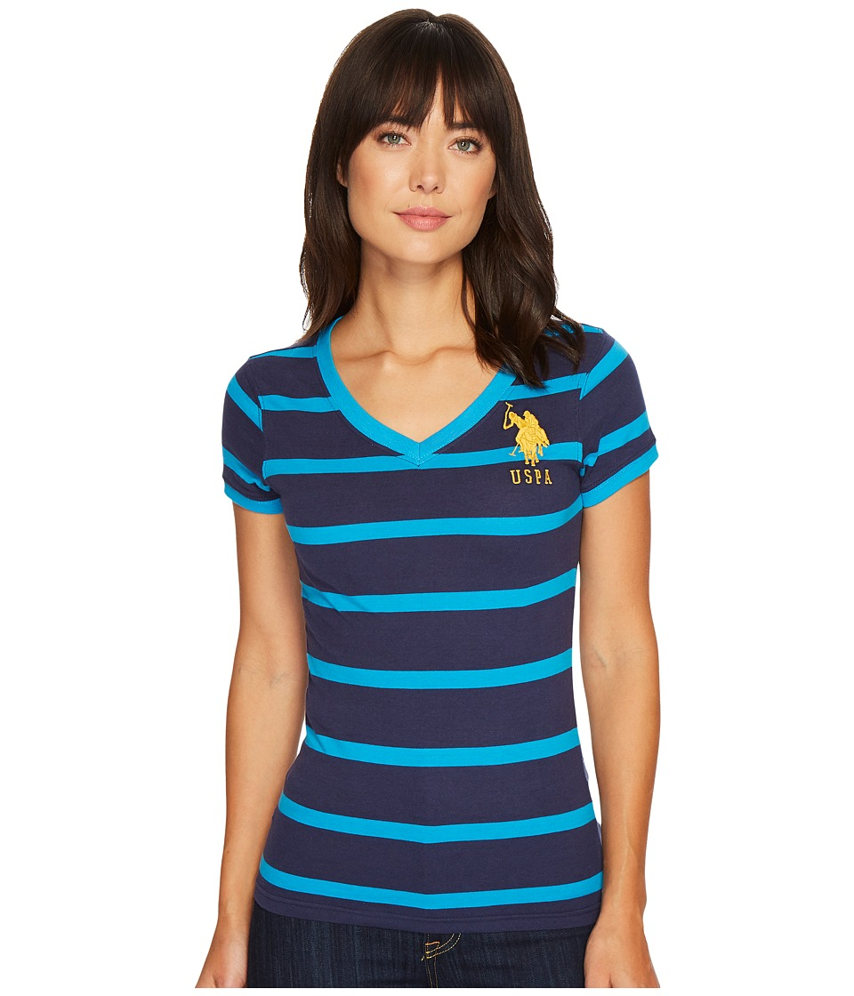 U.S. POLO ASSN. - Short Sleeve Steriped V-Neck T-Shirt (Tribal Navy) Women's T Shirt