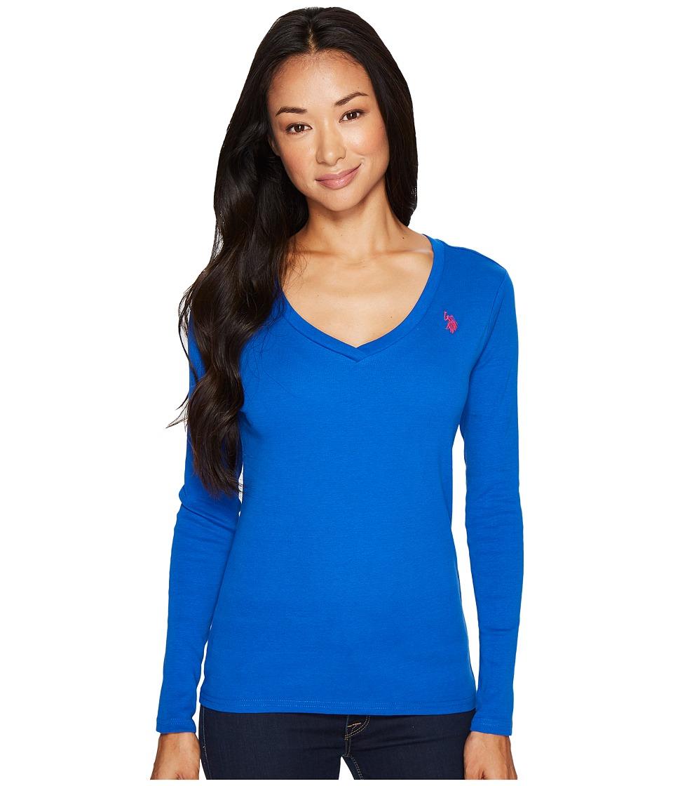 U.S. POLO ASSN. - Rib V-Neck T-Shirt (Blue Mischief) Women's T Shirt
