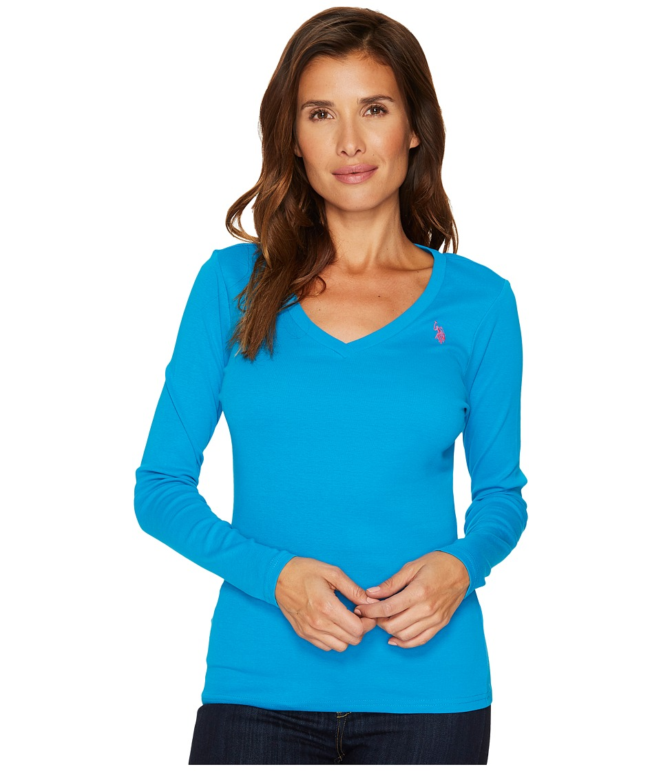 U.S. POLO ASSN. - Rib V-Neck T-Shirt (Teal Blue) Women's T Shirt