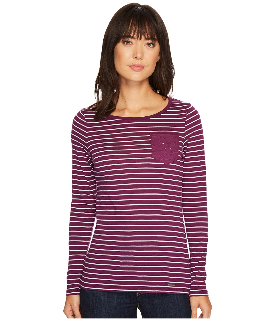 U.S. POLO ASSN. - Striped Pocket T-Shirt with Lace Detail (Bramble Wine) Women's T Shirt
