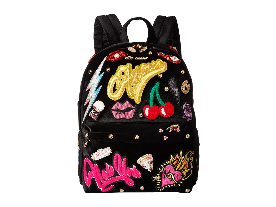 Betsey Johnson - Baby's Got Back Embellished Backpack (Black) Backpack Bags