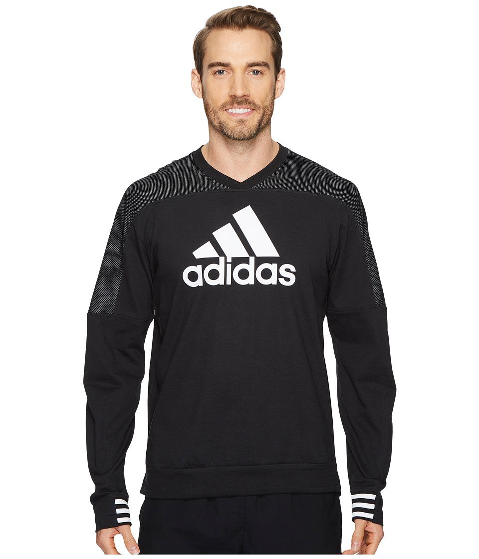 adidas Sport ID Badge of Sport Crew Sweater (Black) Men