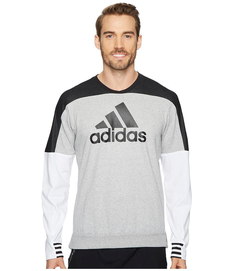 adidas Sport ID Badge of Sport Crew Sweater (Medium Grey Heather) Men