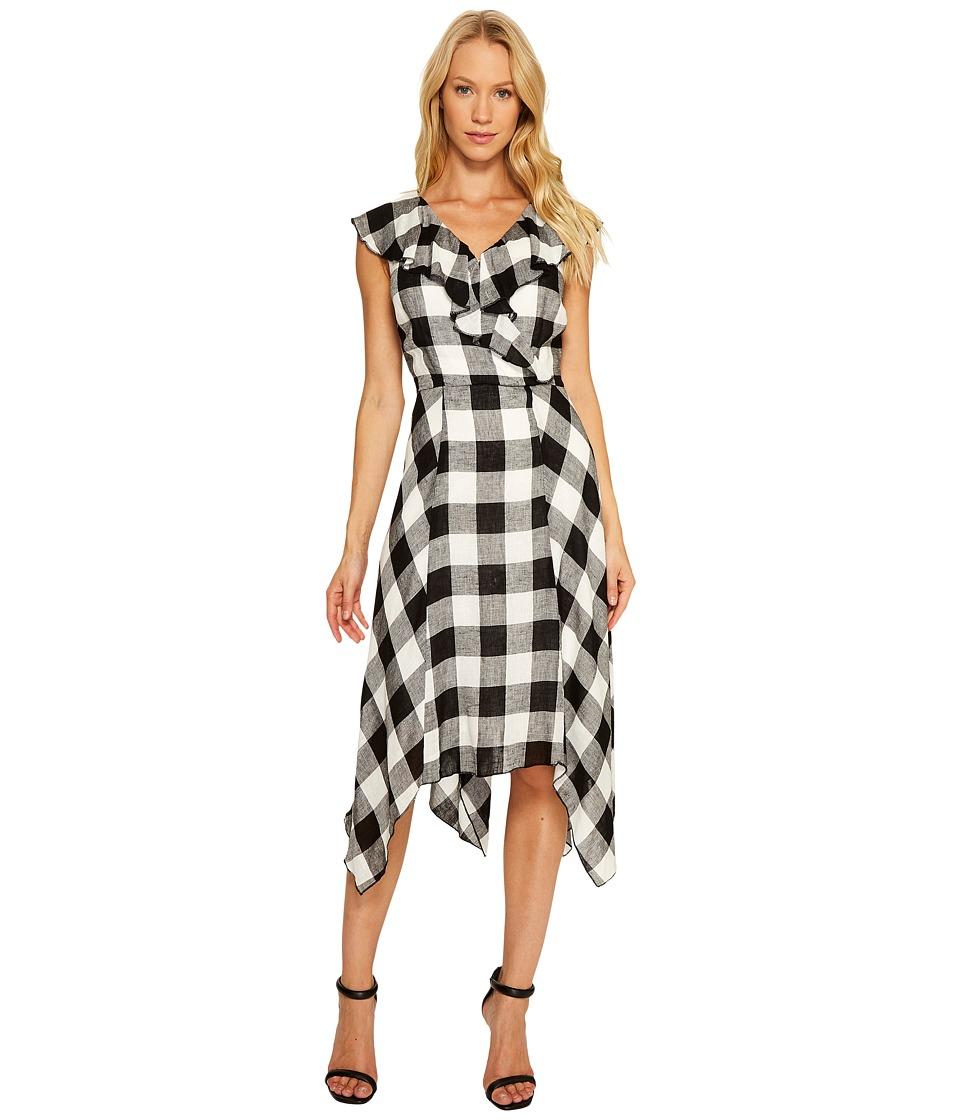 Sangria - Ruffle V-Neck Plaid Handkerchief Hem Fit and Flare (Black/Ivory) Women's Dress