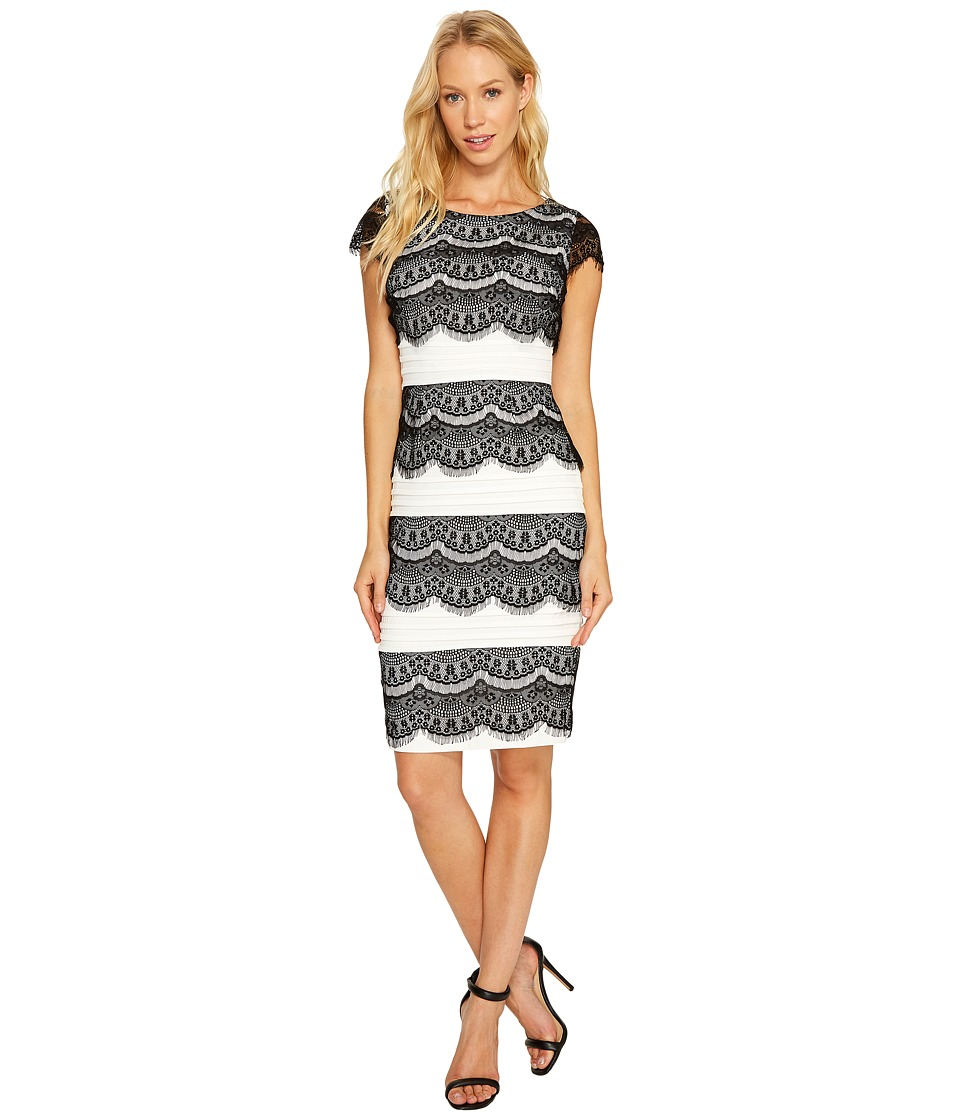 Sangria Lace Tiered Dress (Black/Ivory) Women