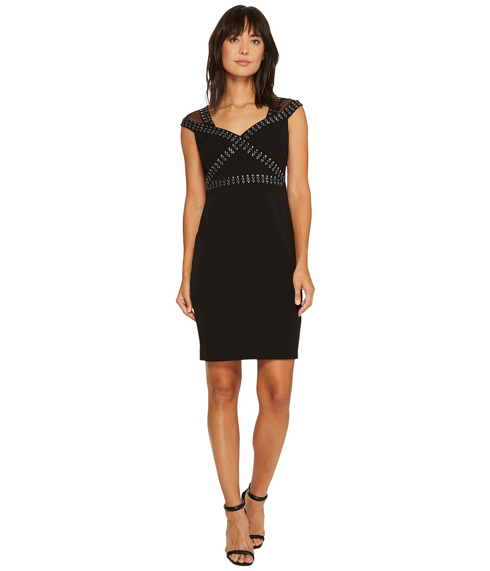 Sangria - Cap Sleeeve Embellished Crepe Sheath (Black/Putty) Women's Dress