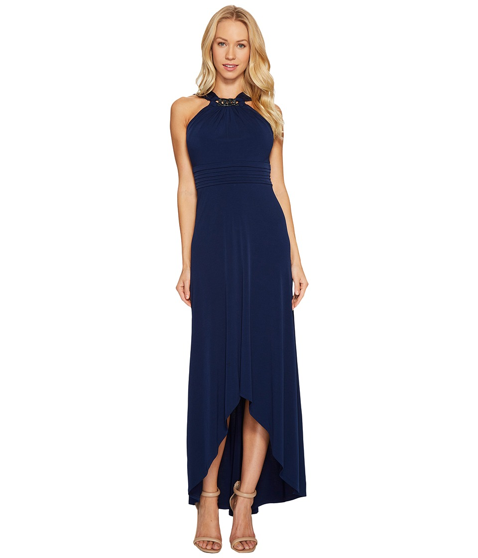 Sangria - Jewel Neck Solid High-Low Maxi (Dusk) Women's Dress