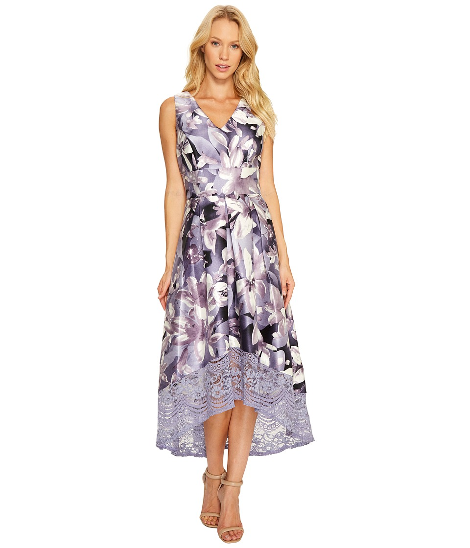 Sangria - V-Neck Floral Print High-Low Fit and Flare with Pockets (Dusty Purple) Women's Dress