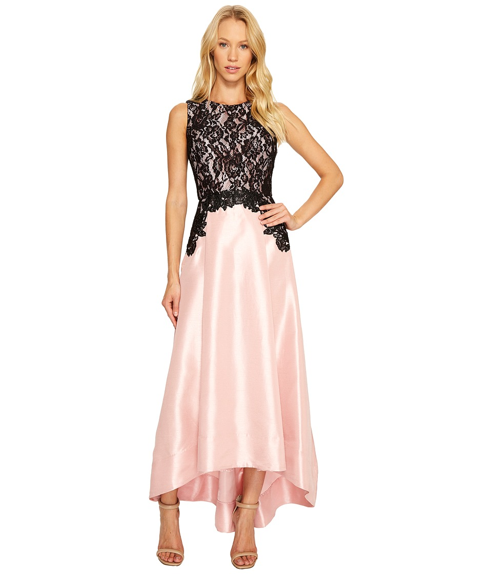 Sangria - Lace Detail Bodice with Solid High-Low Skirt Gown (Black/True Blush) Women's Dress