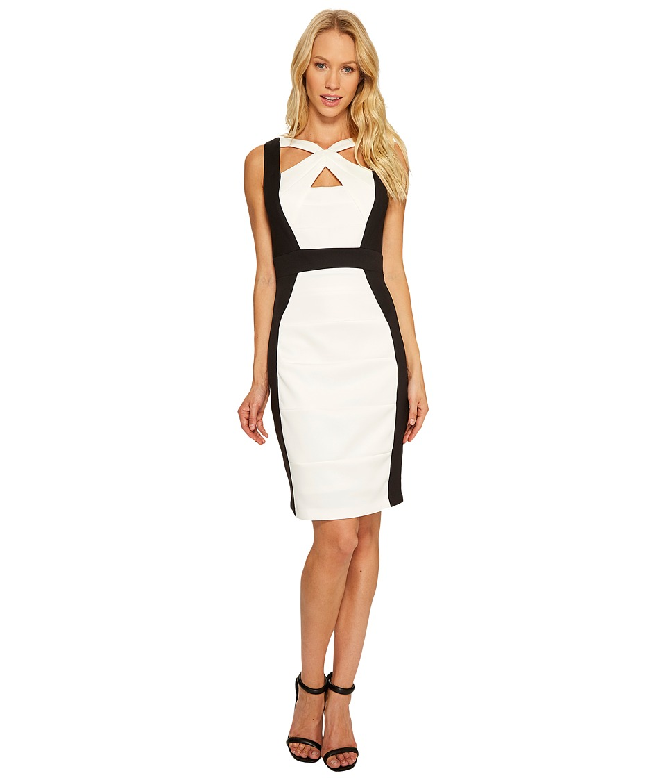 Sangria - Solid Color Block Cut Out Neck Sheath (Ivory/Black) Women's Dress