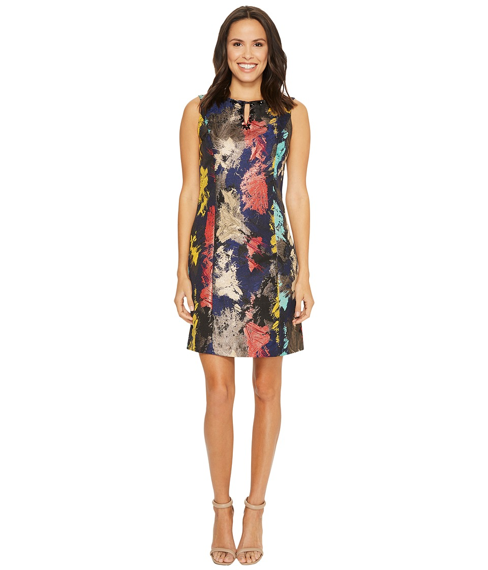 Ellen Tracy - Jacquard Dress with Embellished Neckline (Multi) Women's Dress