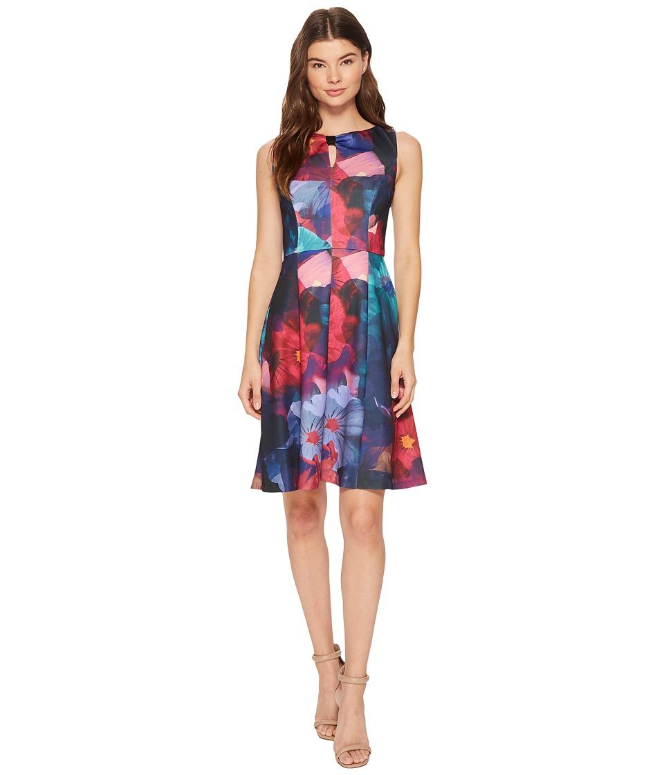 Ellen Tracy - Floral Print Fit and Flare Scuba Dress (Multi) Women's Dress