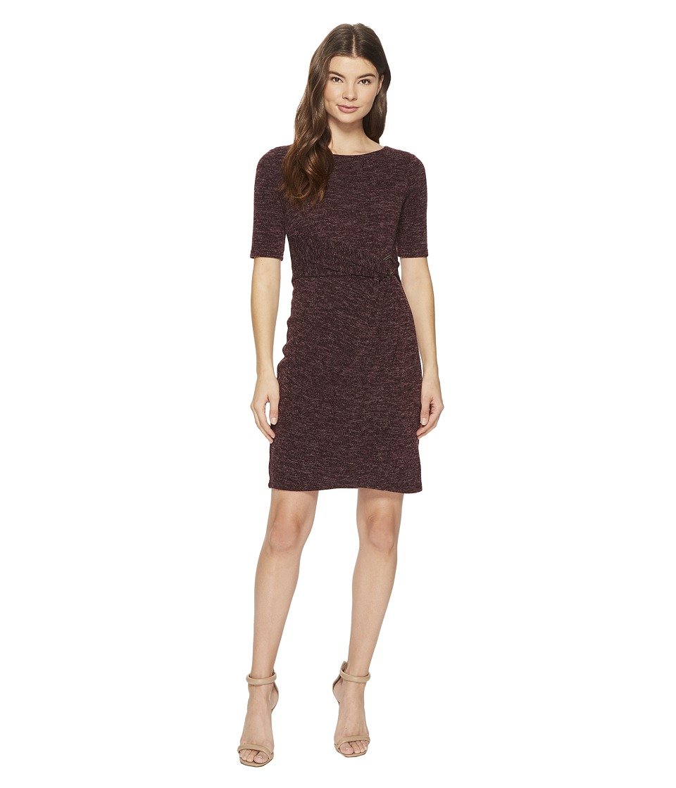 Ellen Tracy - Sweater Dress with Hardware Detail At The Waist (Port) Women's Dress