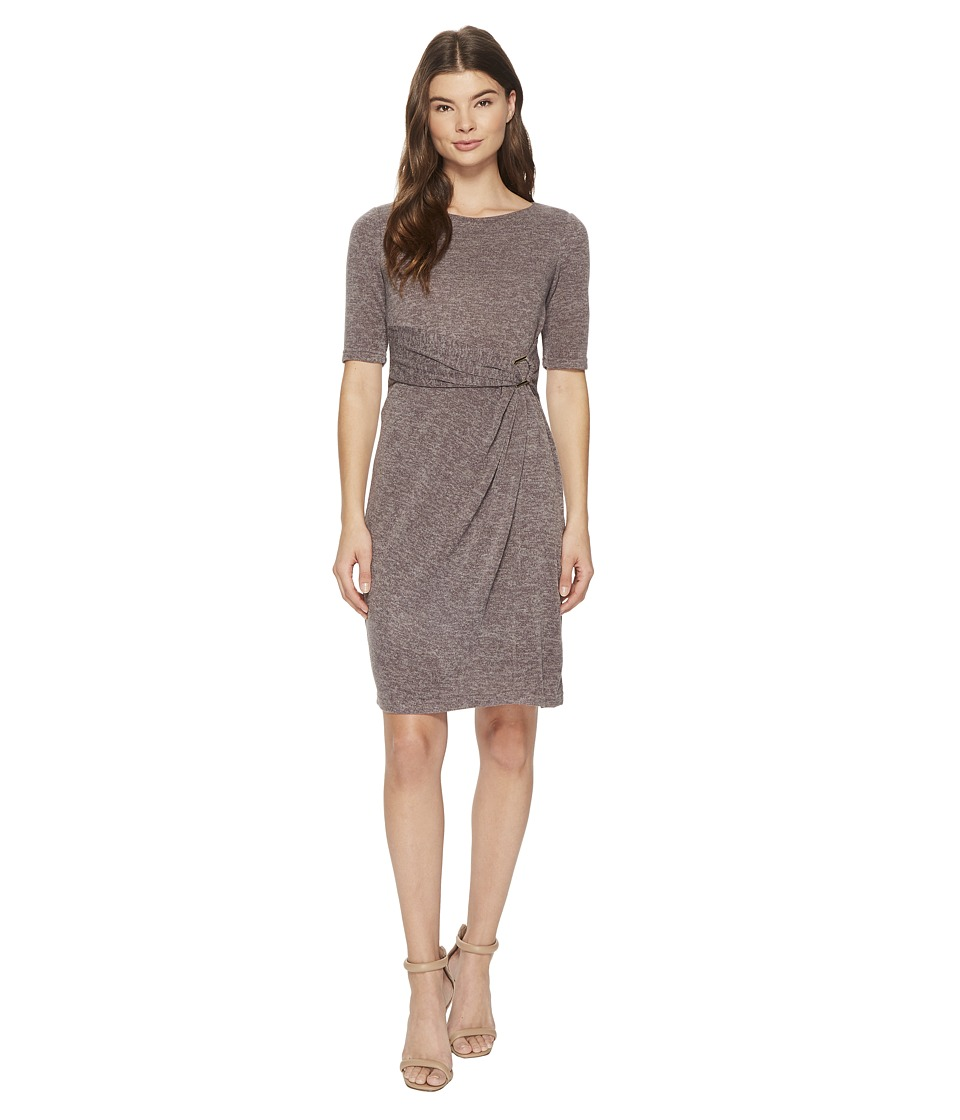 Ellen Tracy - Sweater Dress with Hardware Detail At The Waist (Taupe) Women's Dress