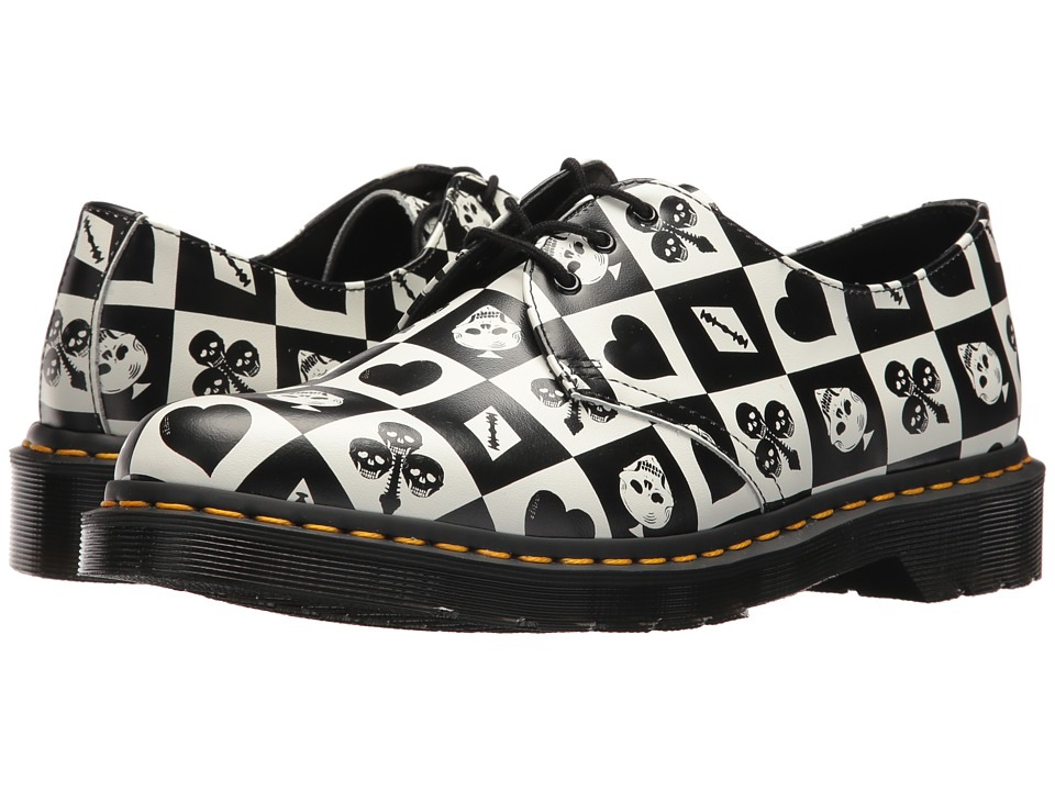 Dr. Martens 1461 (Egret Playing Card Print Repeat Backhand) Industrial Shoes