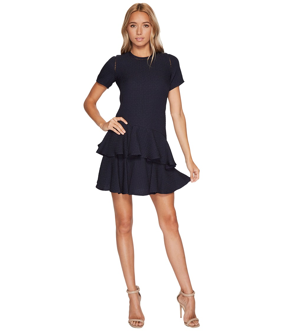 Rebecca Taylor Short sleeve Pucker Jacquard Dress (Navy) Women