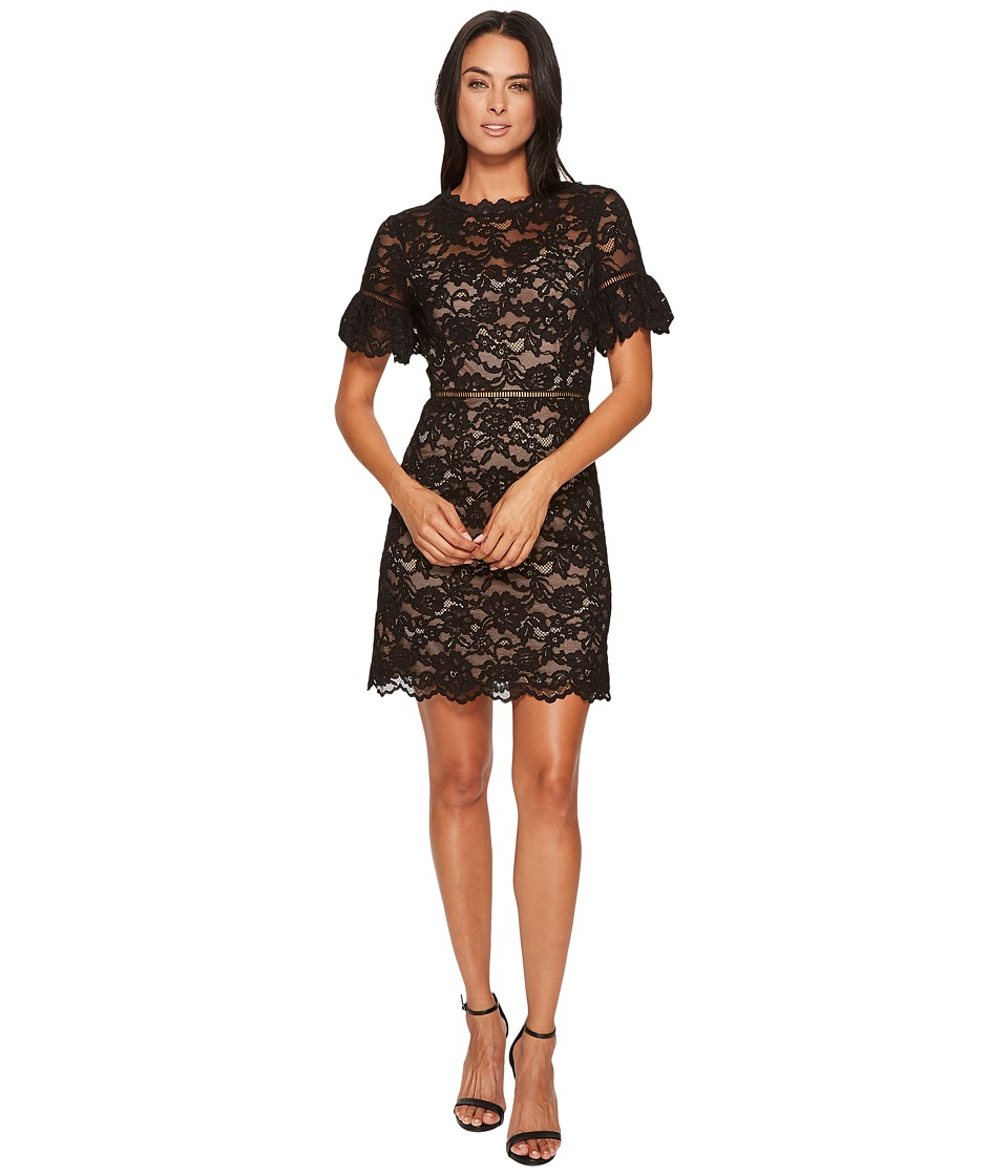 Rebecca Taylor Short Sleeve Open Back Lace Dress (Black) Women