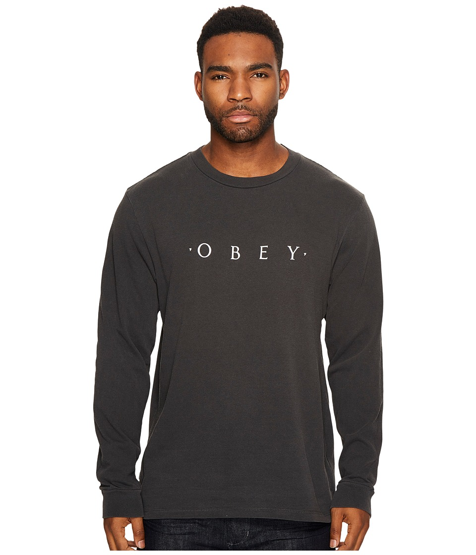 Obey - Novel Obey Long Sleeve Tee (Dusty Black) Men's T Shirt