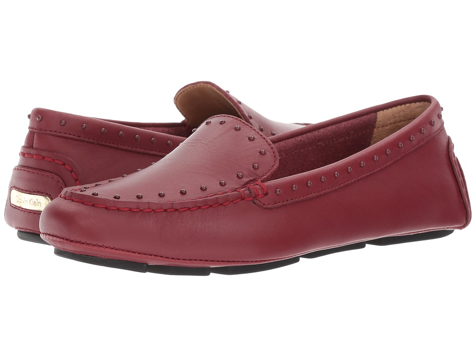 Calvin Klein - Lolly (Cherry Red Cow Silk/Tonal Studs) Women's Shoes