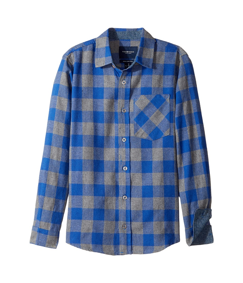 Toobydoo - Check Flannel Shirt (Infant/Toddler/Little Kids/Big Kids) (Blue/Navy) Boy's Long Sleeve Button Up