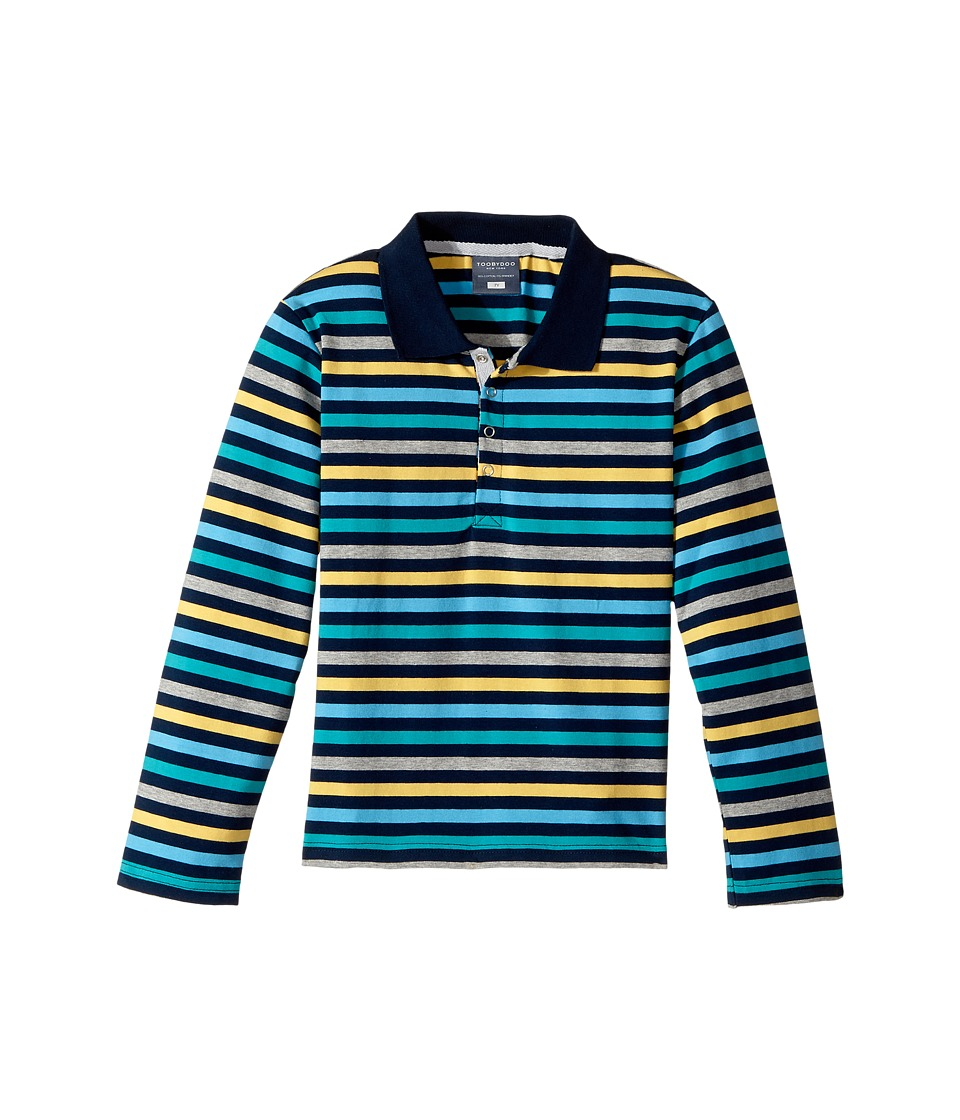 Toobydoo - The Oscar Long Sleeve Polo Shirt (Toddler/Little Kids/Big Kids) (Green/Blue/Navy) Boy's Long Sleeve Pullover
