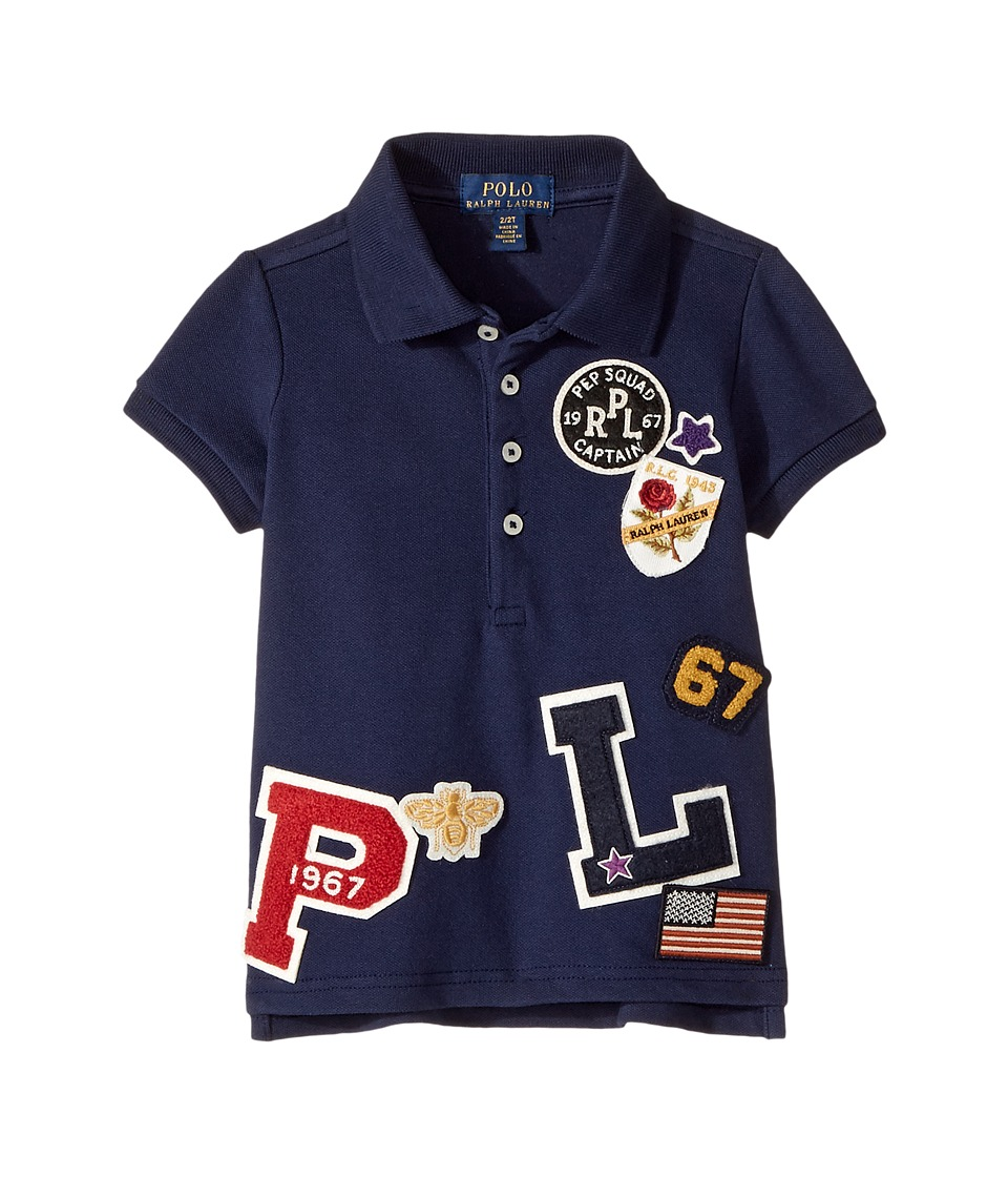 Polo Ralph Lauren Kids - Patch-Embellished Cotton Polo (Toddler) (Newport Navy) Girl's Short Sleeve Pullover