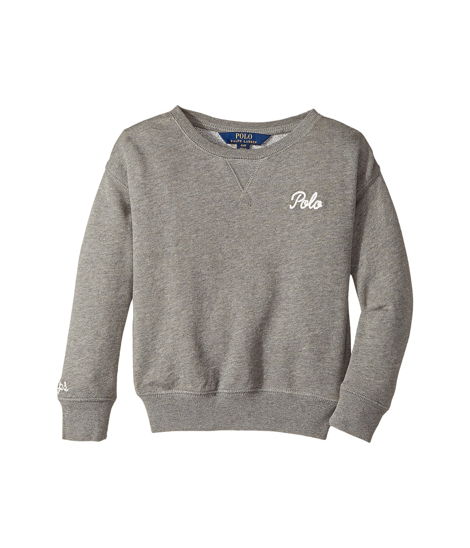 Polo Ralph Lauren Kids - Polo French Terry Sweatshirt (Toddler) (Stadium Grey Heather) Girl's Sweatshirt
