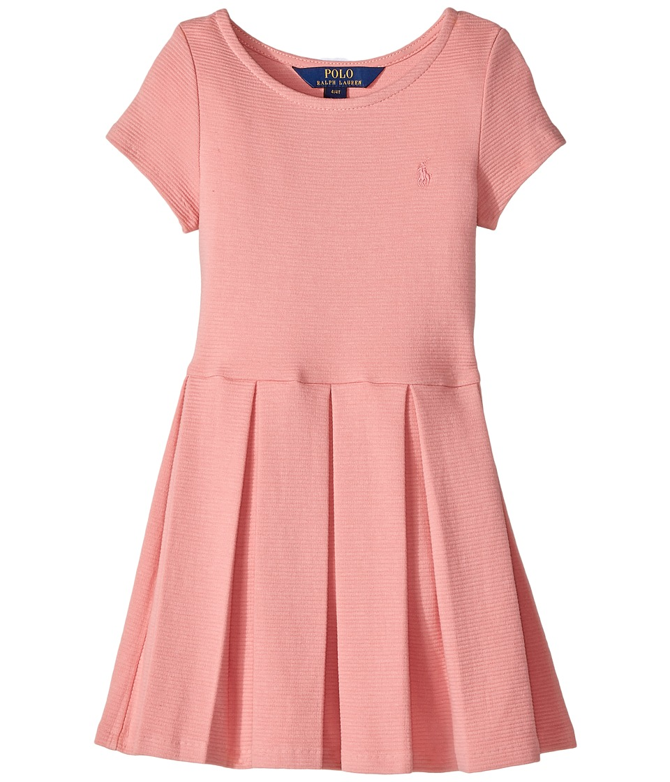 Polo Ralph Lauren Kids - Pleated Ribbed Ponte Dress (Toddler) (Rugby Pink) Girl's Dress