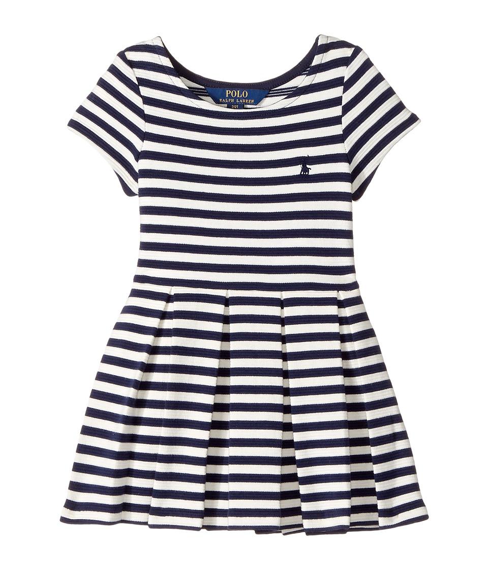 Polo Ralph Lauren Kids - Striped Pleated Ponte Dress (Toddler) (Newport Navy/Nevis) Girl's Dress