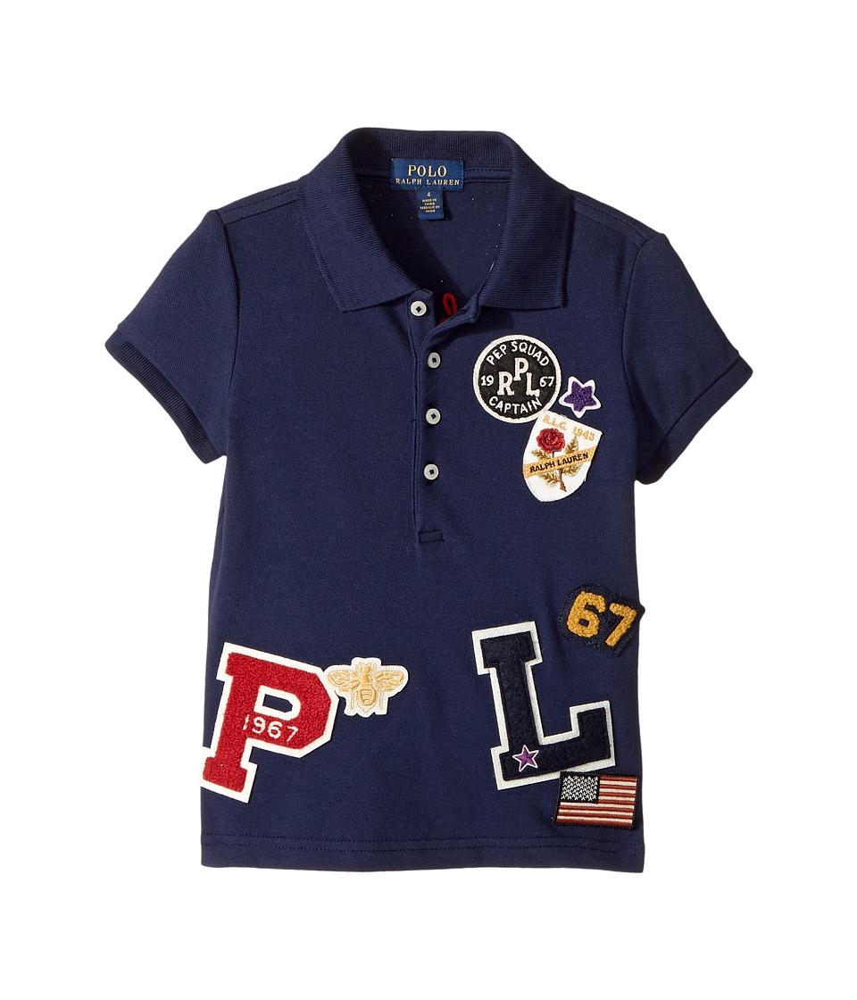 Polo Ralph Lauren Kids - Patch-Embellished Cotton Polo (Little Kids) (Newport Navy) Girl's Short Sleeve Pullover