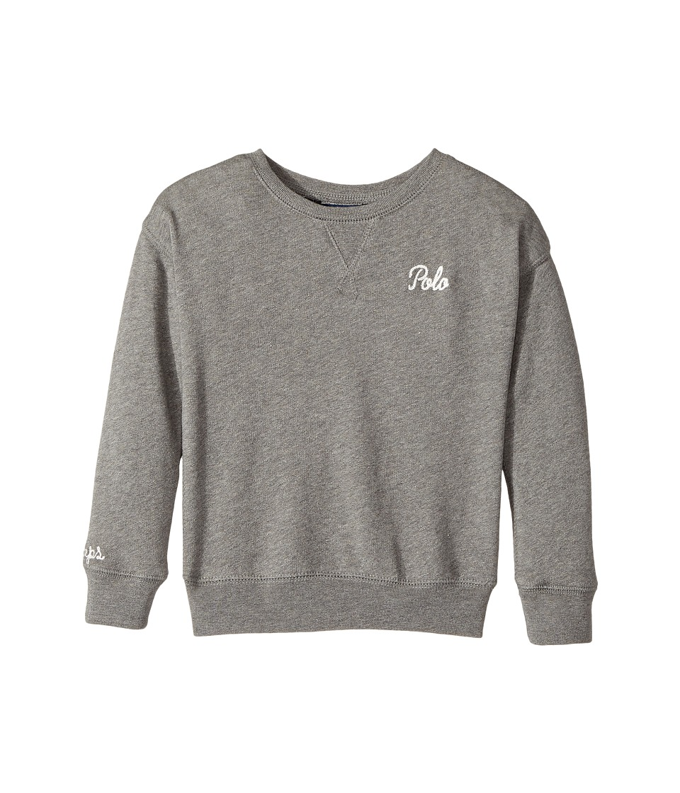 Polo Ralph Lauren Kids - Polo French Terry Sweatshirt (Little Kids) (Stadium Grey Heather) Girl's Sweatshirt