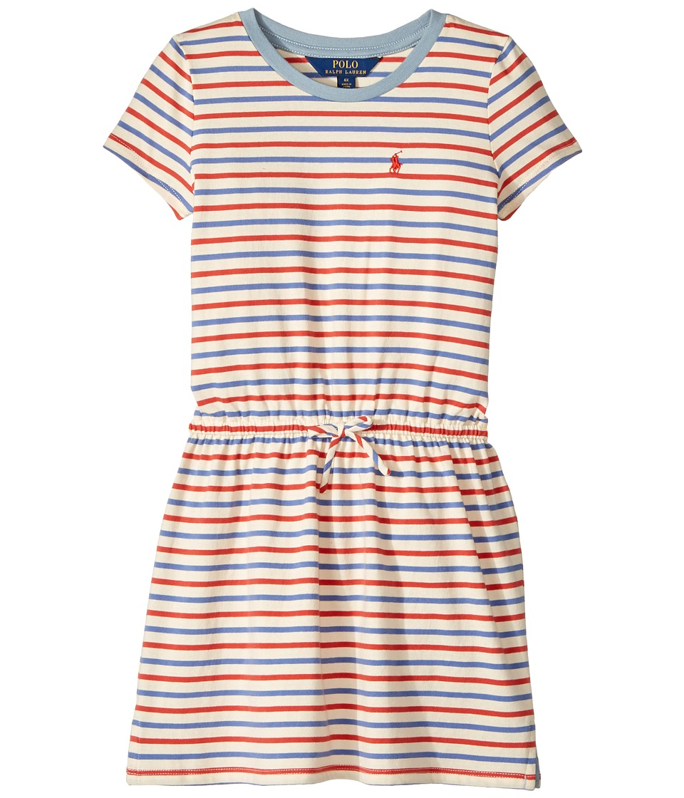 Polo Ralph Lauren Kids - Striped Jersey Tee Dress (Little Kids) (Cream/Red Multi) Girl's Dress