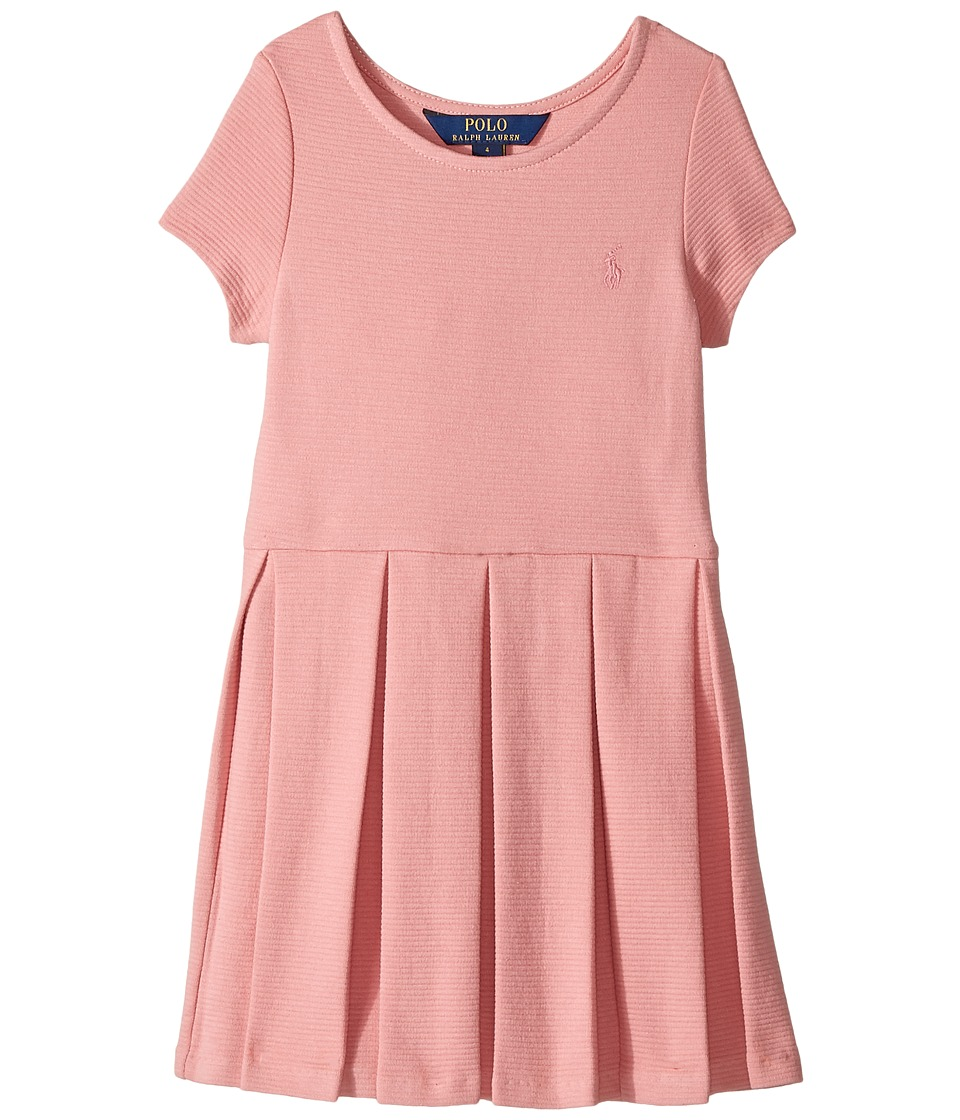 Polo Ralph Lauren Kids - Pleated Ribbed Ponte Dress (Little Kids) (Rugby Pink) Girl's Dress