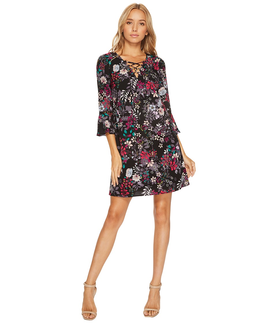 Jessica Simpson - Printed Lace-Up Shift Dress (Black Multi) Women's Dress