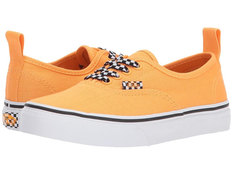 Vans Kids Authentic Elastic Lace (Little Kid/Big Kid) ((Check Lace) Orange Pop/True White) Boys Shoes