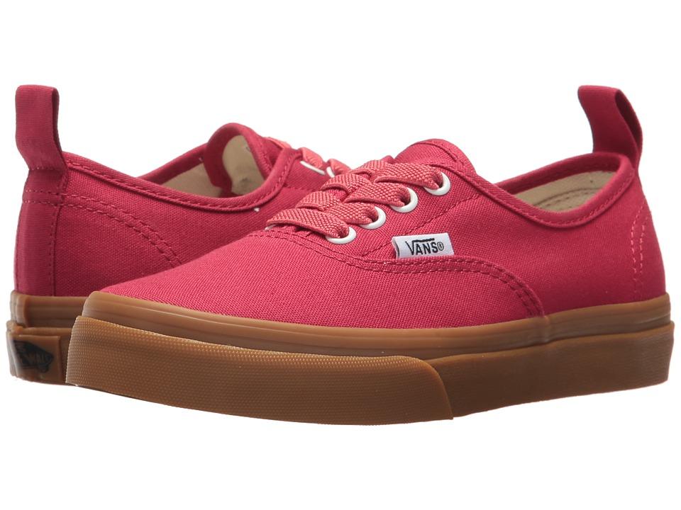 Vans Kids Authentic Elastic Lace (Little Kid/Big Kid) (Crimson/Gum) Boys Shoes