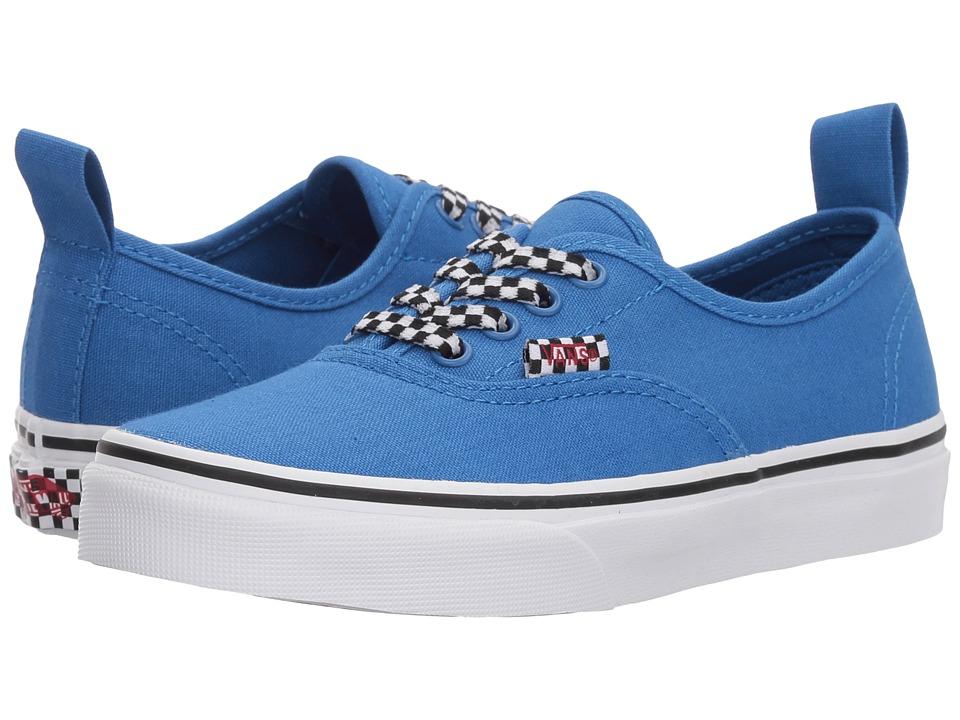 Vans Kids Authentic Elastic Lace (Little Kid/Big Kid) ((Check Lace) Victoria Blue/True White) Boys Shoes
