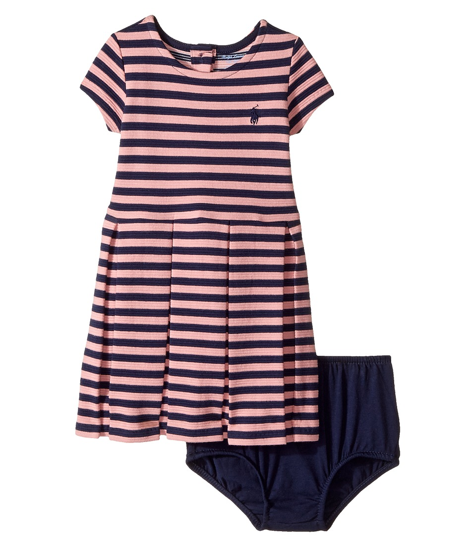 Ralph Lauren Baby - Striped Pleated Cotton Dress (Infant) (Rugby Pink/Newport Navy) Girl's Dress