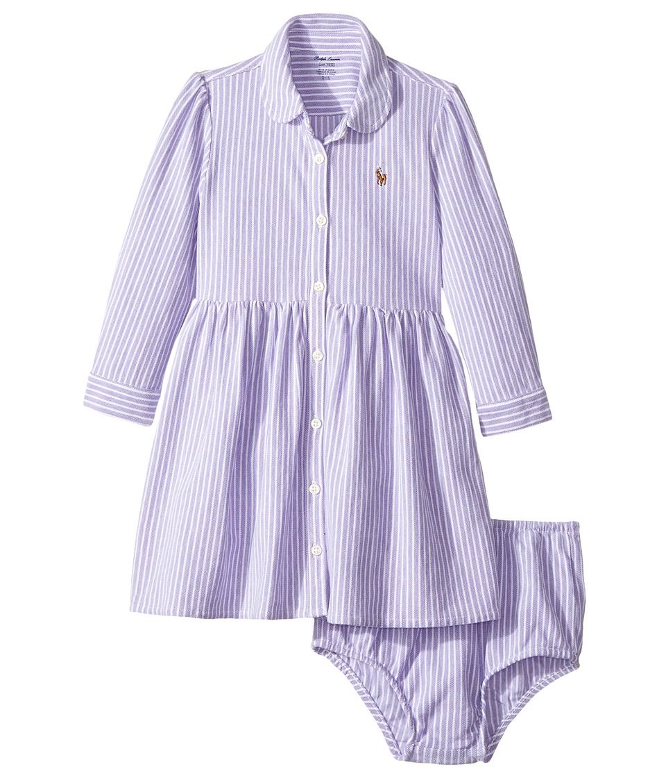 Ralph Lauren Baby - Striped Knit Oxford Dress (Infant) (Charter Purple/White) Girl's Dress