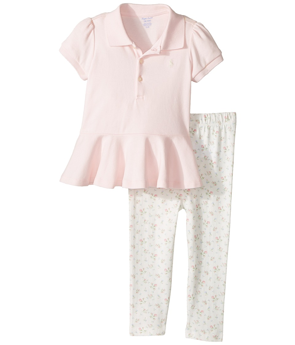 Ralph Lauren Baby - Cotton Polo Leggings Set (Infant) (Morning Pink) Girl's Active Sets