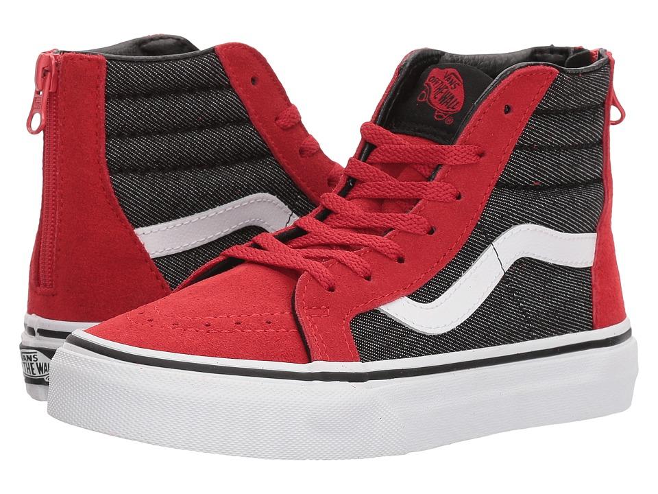 Vans Kids Sk8-Hi Zip (Little Kid/Big Kid) ((Suede/Suiting) Racing Red/Black Denim) Boys Shoes