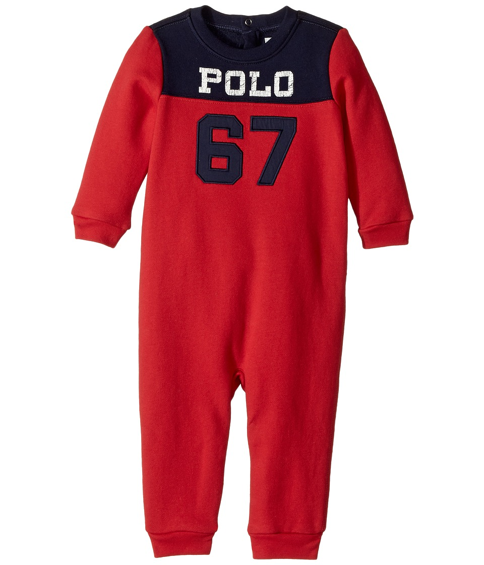 Ralph Lauren Baby - Cotton-Blend-Fleece Coverall (Infant) (RL2000 Red) Boy's Overalls One Piece