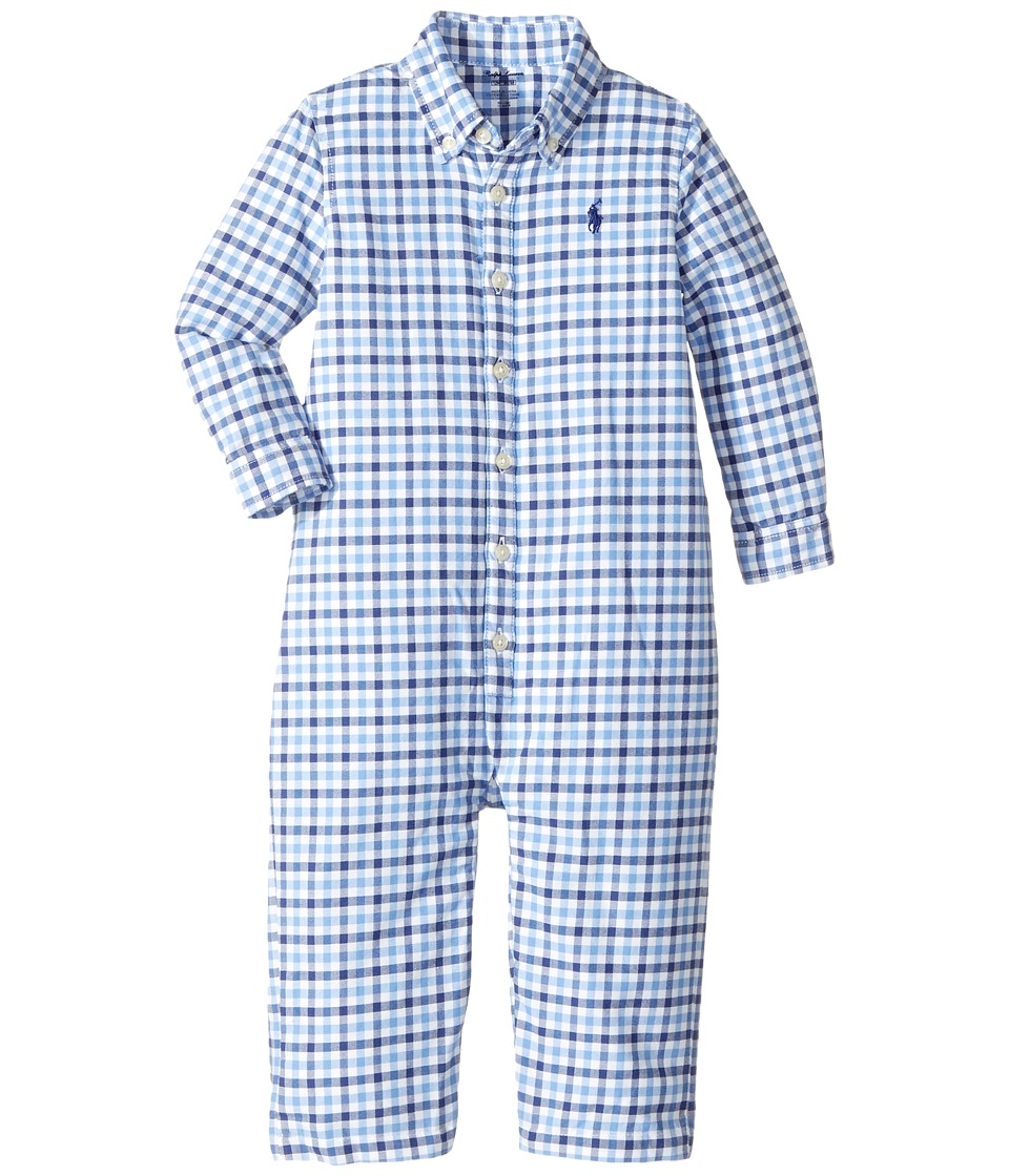 Ralph Lauren Baby - Gingham Cotton Oxford Coverall (Infant) (Multi) Boy's Jumpsuit & Rompers One Piece
