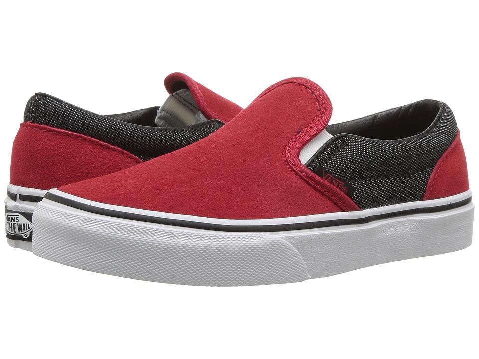 Vans Kids Classic Slip-On (Little Kid/Big Kid) ((Suede/Suiting) Racing Red/Black Denim) Boys Shoes