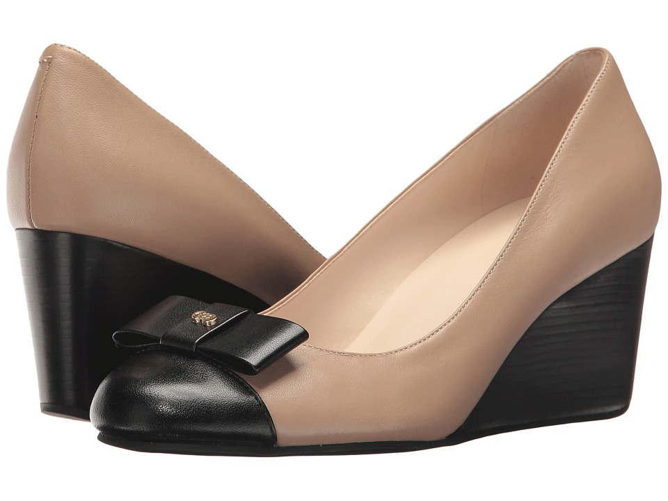 Cole Haan - Elsie Bow Wedge 65mm II (Maple Sugar Leather/Black Patent) Women's Wedge Shoes