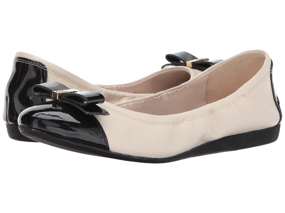 Cole Haan - Elsie Ballet II (Ivory Leather/Black Patent) Women's Slip on Shoes